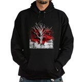 Red Sky Distressed Tree Art Print Hoodie
