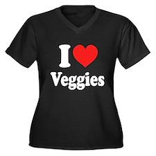 I Love Veggies: Women's Plus Size V-Neck Dark T-Sh