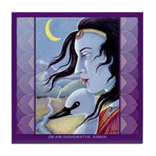 Saraswati-Goddess of Wisdom Tile Coaster
