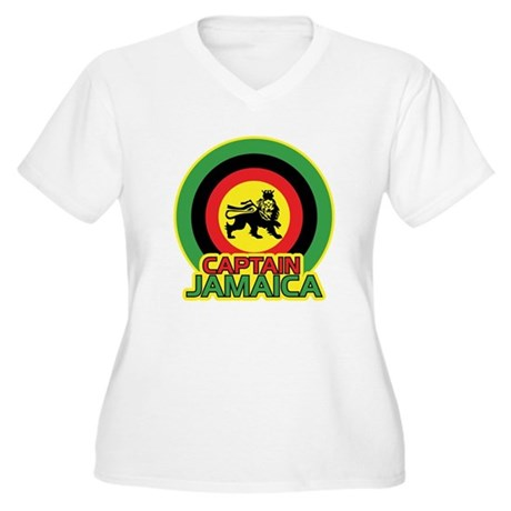 Captain Jamaica Women's Plus Size V-Neck T-Shirt