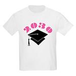 Pink 2030 Graduation Hat Logo Kids Light T-Shirt