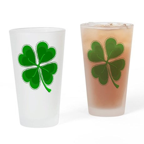 Lucky Four Leaf Clover Drinking Glass
