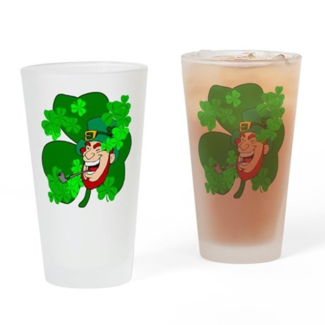 Leprechaun Shamrocks Drinking Glass
