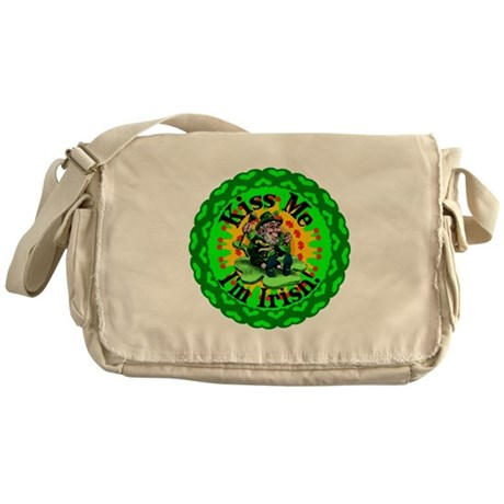 Kiss Me Irish Leprechaun Messenger Bag