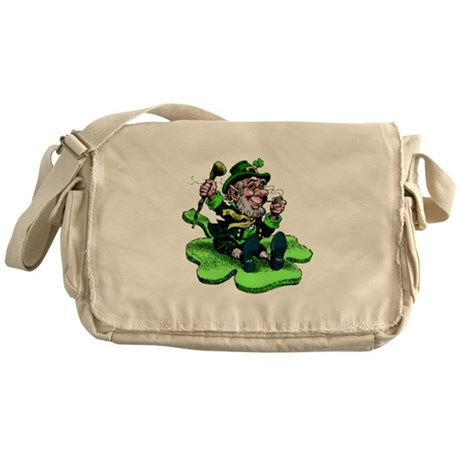 Leprechaun on Shamrock Messenger Bag