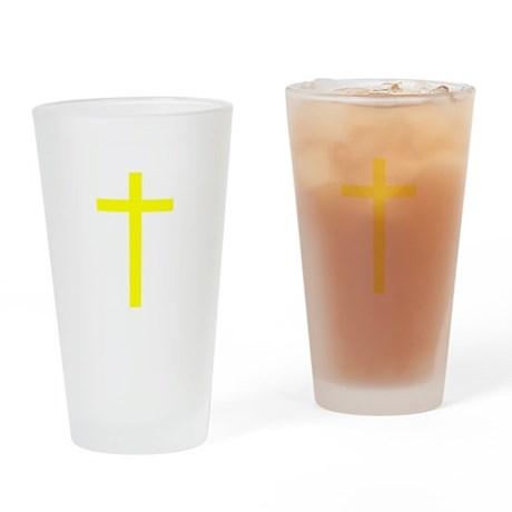Yellow Cross Drinking Glass