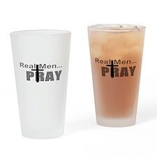 Real Men Pray Drinking Glass