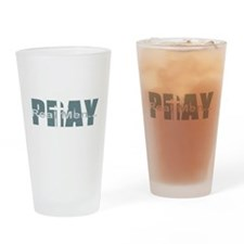 Real Men Pray - Lt Teal Drinking Glass