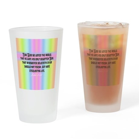 John 3:16 Rainbow Drinking Glass