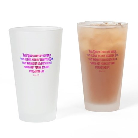 John 3:16 Rainbow II Drinking Glass