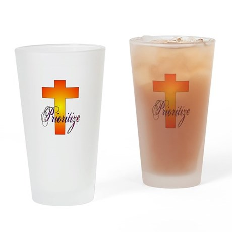 Prioritize Cross Drinking Glass