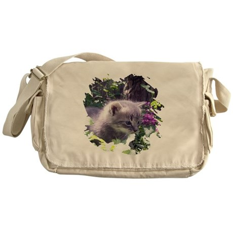 Gray Kitten Messenger Bag