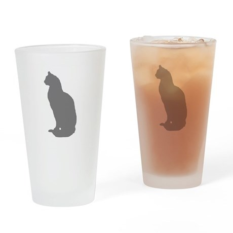 Grey Cat Drinking Glass