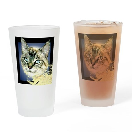 Blue Eyed Kitten Drinking Glass