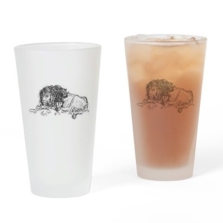 Lion Sketch Drinking Glass