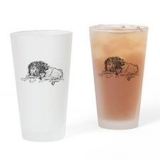Lion Sketch Drinking Glass