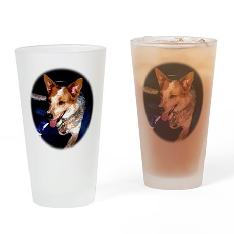 Red Heeler Drinking Glass