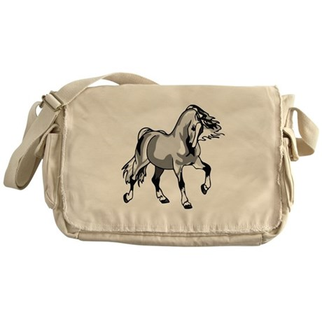 Spirited Horse White Messenger Bag