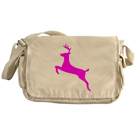 Hot Pink Leaping Deer Messenger Bag
