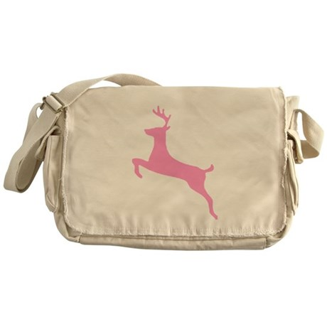 Pink Leaping Deer Messenger Bag