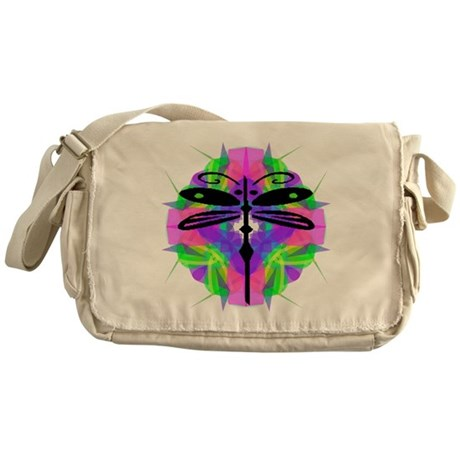 Kaleidoscope Dragonfly Messenger Bag