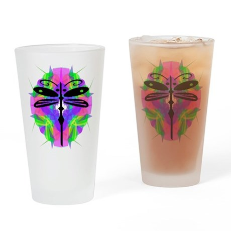 Kaleidoscope Dragonfly Drinking Glass