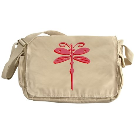 Pink Dragonfly Messenger Bag