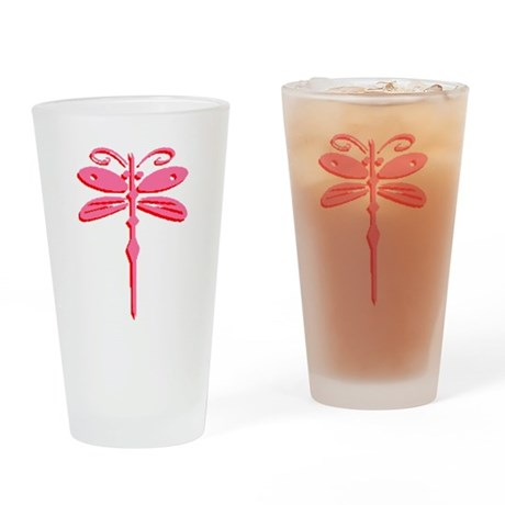 Pink Dragonfly Drinking Glass