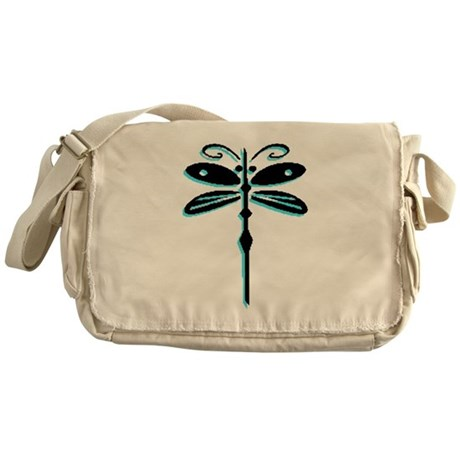 Teal Dragonfly Messenger Bag