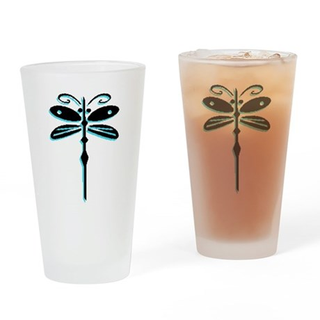 Teal Dragonfly Drinking Glass