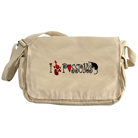 I Love Hearts Possums Messenger Bag