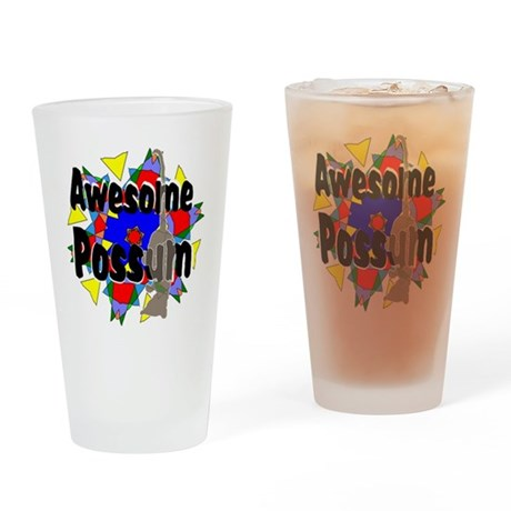 Awesome Possum Kaleidoscope Drinking Glass