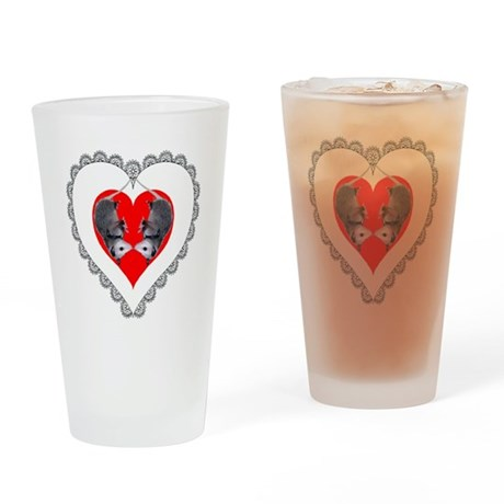 Opossum Valentines Day Heart Drinking Glass