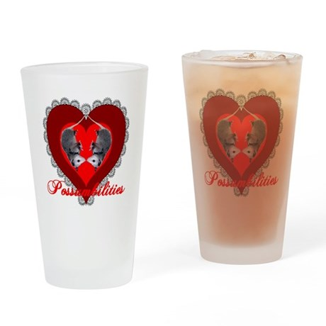 Possumbilities Valentines Day Drinking Glass