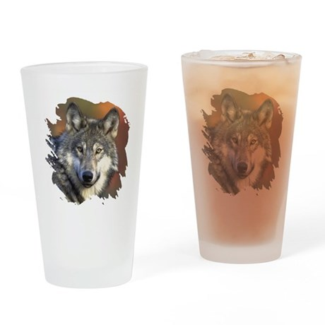 Gray Wolf Drinking Glass