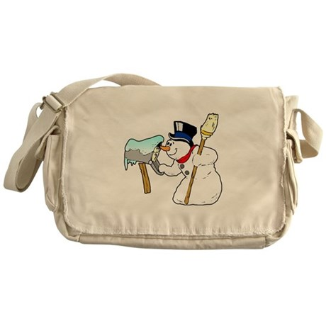 Mailbox Snowman Messenger Bag