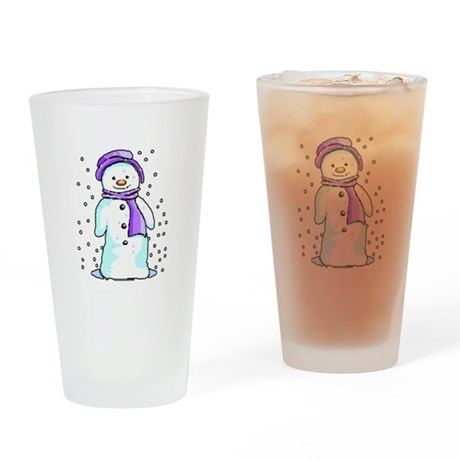 Happy Snowman Drinking Glass