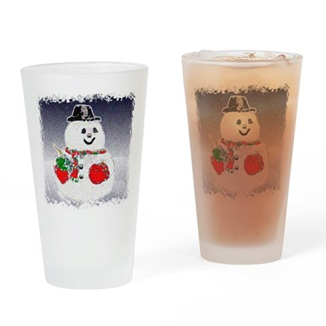 Winter Snowman Drinking Glass