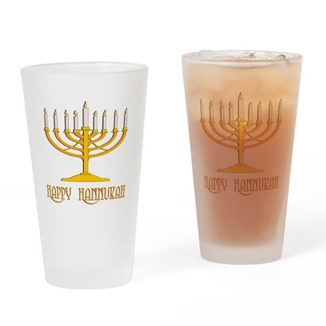 Happy Hanukkah Drinking Glass