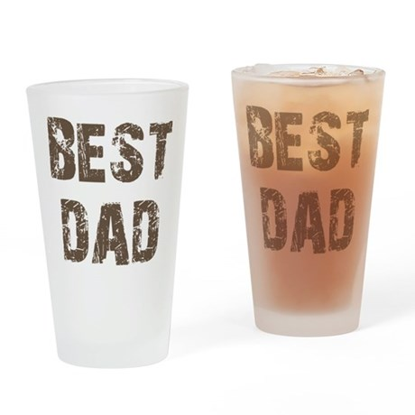 Best Dad Father's Day Brown Drinking Glass