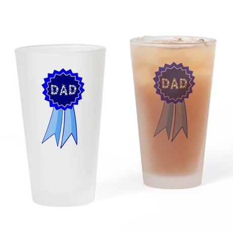 Dad's Blue Ribbon Drinking Glass