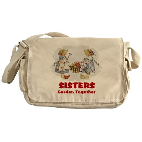 Sisters Garden Together Messenger Bag