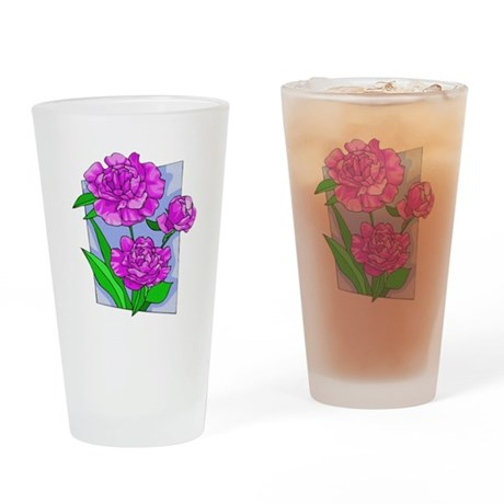 Pink Peonies Drinking Glass