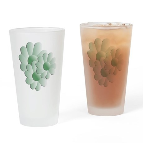Pretty Daisy Trio - Green Drinking Glass