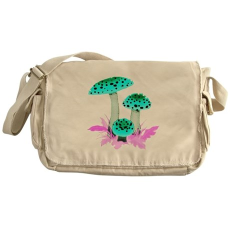 Teal Mushrooms Messenger Bag