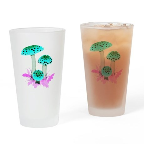 Teal Mushrooms Drinking Glass