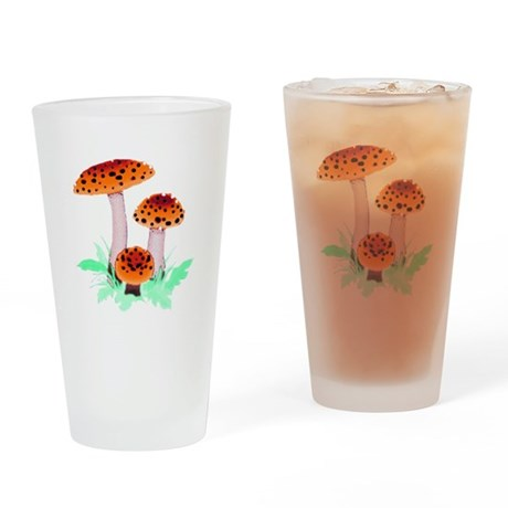 Orange Mushrooms Drinking Glass