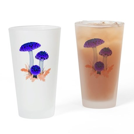 Blue Mushrooms Drinking Glass