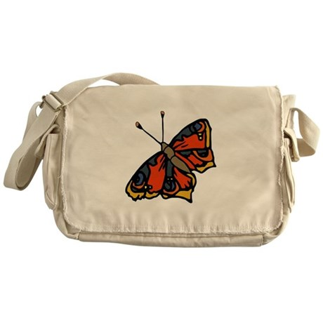 Orange Butterfly Messenger Bag