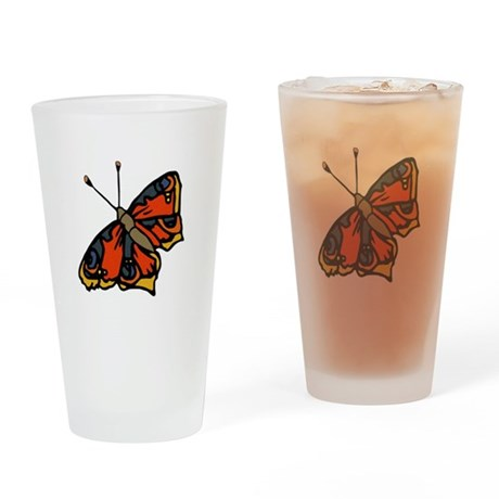Orange Butterfly Drinking Glass